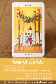 Four of Wands #tarotcardmeaning learn more athttp://www.biddytarot.com/tarot-card-meanings/minor-arcana/suit-of-wands/four-of-wands/