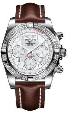 Breitling Chronomat 41 Steel Diamond Bezel Leather Strap Tang AB0140AA/A747 | juwelier-haeger.de