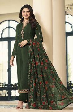 Buy Prachin Desai Dark Green Crepe Straight Pant Suit online, SKU Code: This Green color Party straight pant suit for Women comes with Embroidered Faux Crepe. Shop Now! Indian Salwar Kameez, Salwar Kameez Online, Churidar Suits, Patiala, Anarkali Suits, Latest Salwar Suit Designs, Straight Cut Dress, Bollywood Suits, Prachi Desai
