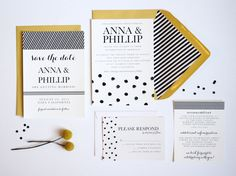 All-Inclusive Wedding Suite // Invitation // Response Cards // Envelopes // Envelope Liners // Postage. $50.00, via Etsy.
