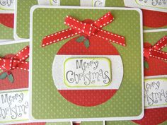 Christmas card set of 6 with ornament Merry Christmas Diy Christmas Cards, Xmas Cards, Holiday Cards, Christmas Crafts, Merry Christmas, Christmas Ideas, Greeting Cards, Santa Crafts, Polka Dot Paper