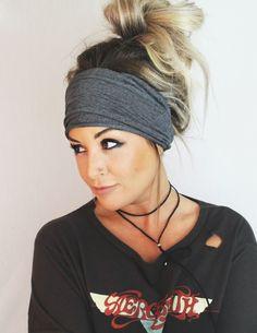Soot Scrunch Headband, Extra Wide Headband, Turban Jersey Headband, Extra Wide Headband, Boho Headband, Boho head wrap (women, teen girls) by pebbyforevee on Etsy https://www.etsy.com/listing/242028174/soot-scrunch-headband-extra-wide