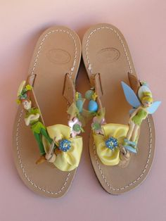 Handmade leather sandals with cartoon, ceramic beads, glass beads, metallic daisies with swarovski rhinestones, French ribbons and French gros grain ribbon
