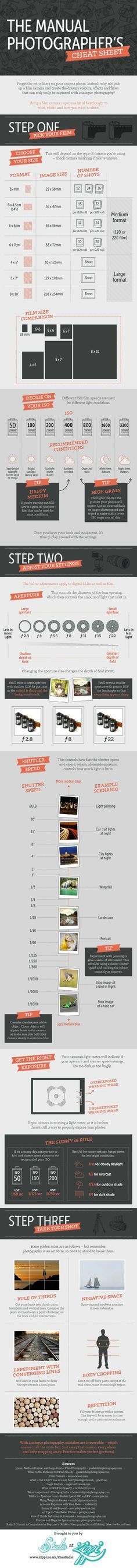 This infographic/cheat sheet from Zippi might be helpful for those looking to get out of auto mode and gaining more control over their cameras. While section 1 is much more for those shooting with film the rest is relevant for digital photography. We've i
