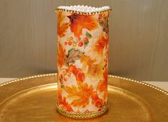 Fall LED Pillar Candle With Maple Leaves by DontForgetTheFlowers on Etsy Flickering Lights, Flameless Candles, Pillar Candles, Maple Leaves, Autumn Leaves, Wrapping Paper Bows, Thanksgiving Centerpieces, Beautiful Candles, Beautiful Paintings