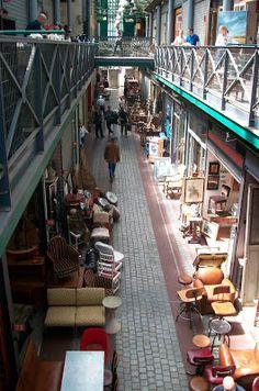 Puces de Saint Ouen flea market, Paris....the arcade in nashville should be a little more like this!!!
