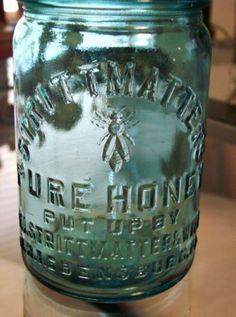 Very Rare Ball Canning Blue glass SIGNED F.J Strittmatters & Wife Ebensburg Pa