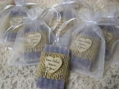 wedding favors- 50 bridal shower favors soaps, country lavender soaps with sheer bags, mini soaps, organic, handmade soap
