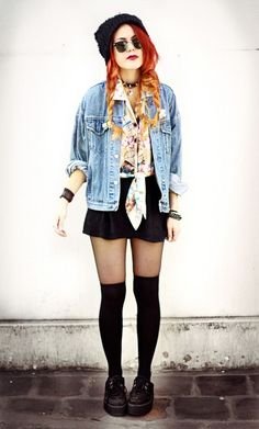 in cooler weather, pair your thigh-high socks over sheer tights, a skirt, and a denim jacket and a beanie