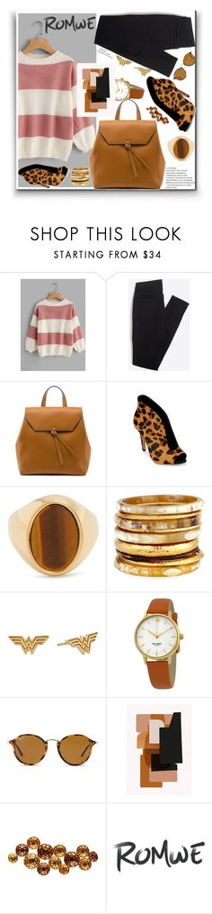 """""""Romwe wide striped sweater"""" by eldinreham ❤ liked on Polyvore featuring Alexandra de Curtis, Schutz, Chloé, Ashley Pittman, Alex and Ani, Kate Spade, Ray-Ban and ferm LIVING"""