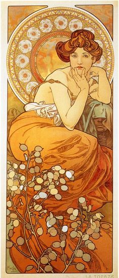 Alphonse Mucha - Topaz  one day I want to do a a study of this kind of artwork