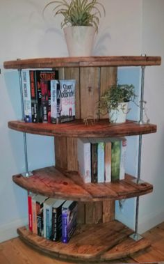 Upcycled cable reel - now corner bookcase. Available for sale £70 https://www.gumtree.com/p/for-sale/upcycled-cable-reel-corner-bookcase/1204253453