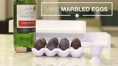 Wine Marbled Eggs for Easter  What you need: - A Pot - 6-10 White Eggs - 5 Cups of Frontera Cabernet Sauvignon  - A Wine Glass (So you can enjoy a glass)  Preparation: 1) Put wine in the pot on the stove and bring to a boil.  2) Once the wine is boiling, add the eggs. 3) Turn burner off and let the pot cool for 30 minutes (or until safe to put the pot in the refrigerator). 4) Put the pot with the eggs and wine into the refrigerator to let soak for 12 hours.