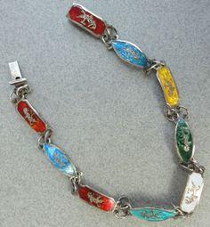 Vintage Bracelet Siam Sterling Silver Multi-Colour Enamel Links Niello Goddess c1930s