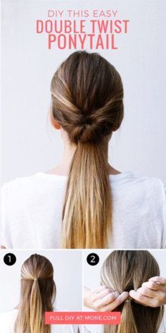 This double twist ponytail hair tutorial is the perfect hairstyle for going out, going to work, or running errands. Learn how to DIY this easy hairdo. - This double twist ponytail hair tutorial is the perfect hairstyle for going out, . Five Minute Hairstyles, Going Out Hairstyles, Easy Hairstyles For Long Hair, Diy Hairstyles, Easy Ponytail Hairstyles, Running Hairstyles, Office Hairstyles, Hairstyle Ideas, Hair Ideas