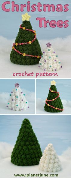 Crochet these stylish Christmas Trees. Pattern includes 2 sizes (plus instructions to make any size) and the tiny star tree topper!