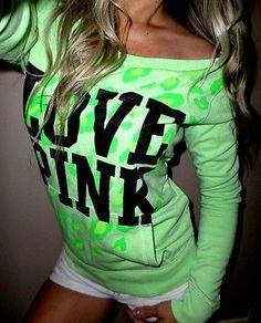 Pink-by-Victorias-Secret-green-leopard-print-pullover-sweatshirt-crew-XS