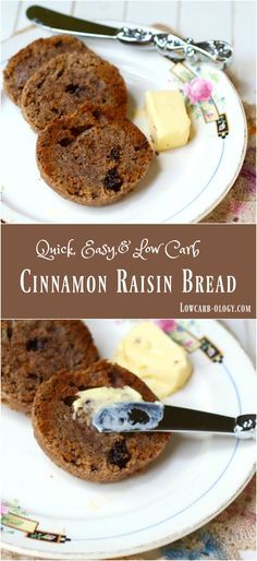 This low carb cinnamon bread with raisins has just 4.3 net carbs and it's so quick and easy that anyone can make it! Perfect toasted with a little butter| Low carb recipes|Atkins friendly|Lowcarb-ology.com