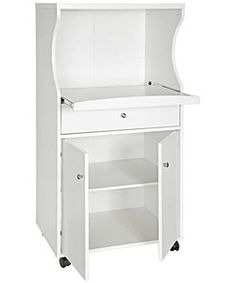 For Easy Mobilitytwo Door Cart Pull Out Drawer On Metal Glides This Furniture Piece Is Great Use In The Kitchen Microwave Features A White