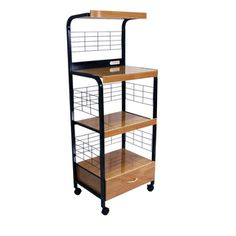 Black Microwave Cart with Outlet, 60-inches High