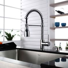 Kraus KPF-1612 Single Lever Pull Out Kitchen Faucet, Chrome