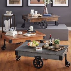 Enjoy a drink with friends while sitting around this unique cocktail table. The Myra Cocktail Table's pine top construction has a weathered and timeworn patina, allows traces of the original color and natural wood to show through.