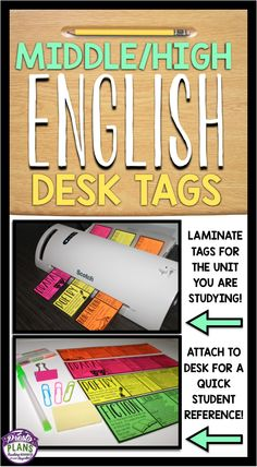 These ready-to-use desk tags are the perfect reference for your middle or high schoolers during any unit you study. All you have to do is laminate, cut out, and attach the tags to each of your students' desks.