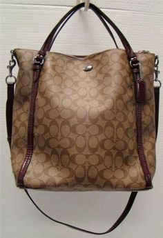 00d5a4e2dd Coach F24601 Khaki Plum Signature Peyton Convertible Tote Handbag Coated  Canvas