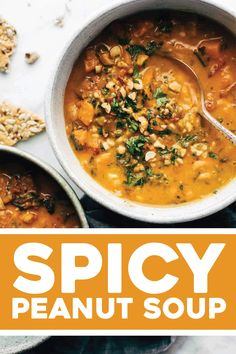 Spicy Peanut Soup with Sweet Potatoes + Kale! Use full fat coconut milk, 1 tsp red pepper flakes instead of jalapeño, bone broth instead of water (or half and half), add shredded chicken at end. Only need about 3 small SP, cube very small Soup Recipes, Real Food Recipes, Vegetarian Recipes, Cooking Recipes, Healthy Recipes, Healthy Breakfasts, Veggie Recipes, Sweet Potato Kale, Instant Pot Dinner Recipes