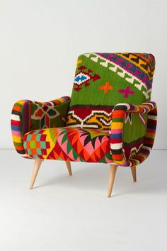 One-Of-A-Kind Berr Armchair, Green Field - handmade chair, upholstered in unique vintage kilim fabric with vivid colors and a geometric motif    * Handcrafted in Tunisia