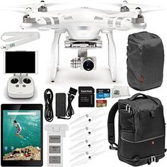"DJI Phantom 3 Advanced Quadcopter Drone with 1080p HD Video Camera & Manufacturer Accessories + DJI Propeller Set + Google Nexus 9 Tablet (8.9"", 16GB, White) + Manfrotto Advanced Tri Backpack + MORE drone reviews"