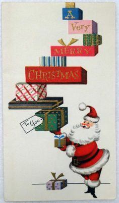 #550 50s Mid Century Santa Balances the Gifts-Vintage Christmas Greeting Card