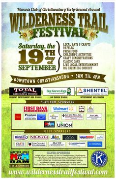Celebrate history, culture, and tradition with the Kiwanis Club of Christiansburg at the 42nd Anniversary of the Kiwanis Wilderness Trail Festival on Saturday, September 19th in downtown Christiansburg, Virginia.