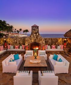 Lounging by the fire at Villa Cortez, part of One&Only Palmilla in San Jose del Cabo, Mexico