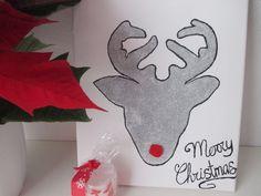DIY-Lienzo ciervo navidad Cuadro de navidad-Rudolf