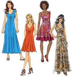 McCall's 6074 Robes en trois longueurs, facile, tailles 34 à 42 et 44 à 50