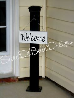 Spring SALE Gorgeous Custom Decorative Wood Porch Post with Hanging Sign.  Black, White or Custom.  PERFECT GIFT or Home Decoration on Etsy, $65.00