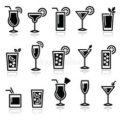 Drinks Icon Set by RedKoala Alcohol icons set popular cocktails isolated on white FEATURES: 100 Vector Shapes All groups have names All elements are easy Web Design, Sketch Design, Icon Design, Logo Design, Graphic Design, Flat Design, Vector Shapes, Vector Icons, Icon Set