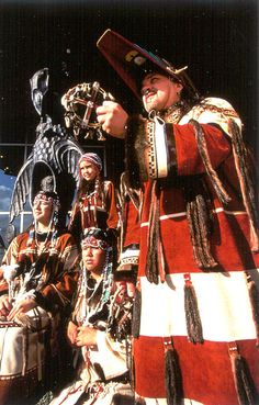 Aleut dancers in traditional ceremonial dress