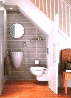 Tiny house bathroom design tiny house bathroom design ideas best attic sloped ceiling images on under Bathroom Under Stairs, Add A Bathroom, Small Space Bathroom, Tiny Bathrooms, Small Bathroom Storage, Bathroom Closet, Tiny House Bathroom, Bathroom Layout, Bathroom Sinks