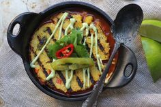 Grilled Chili Polenta Pot Pie. This dish is a winner! Your family will love you and this Tex-Mex version of traditional pot pie just top polenta pot pie with roasted poblano cashew cream, http://www.beardandbonnet.com/cashew-cream-trust-me-it-is-delicious/ And that's it. Yummy!!!