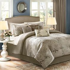 Refresh your master suite or guest room with this lovely comforter set, showcasing a leaf motif in tan.  Product: Queen:...
