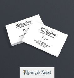 Business Card Designs - Printable Business Card Design - Premade - Logo Style - Ella by RhondaJai on Etsy