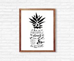 Q U O T E - Be a pineapple stand tall wear a crown & be sweet  I N S T A N T - D O W N L O A D! This printable quote is ready to be printed at home or at any photo lab/printing service!  Y O U - W I L L - R E C I E V E + high resolution 300 dpi files + 8x10 PDF + 8x10 JPEG  Need a different size or text color? - Message me for custom edits!  P L E A S E - N O T E This listing is for a DIGITAL PDF file only. No physical item will be shipped to you and the frame is NOT included.  C O L...