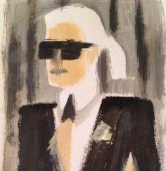 Karl Lagerfeld, Fashion Illustration by Donald Robertson @donaldsrawbertson  via Instagram.