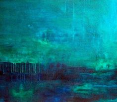 Abstract painting modern original landscape art blue by MODERN707, $1200.00
