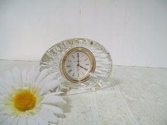 Vintage Howard Miller Clear Lead Glass Alarm Clock by DivineOrders  #etsy #vintage