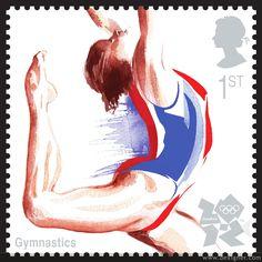 2012 London Olympic Stamp Gymnastics Illustration by Kathy Wyatt