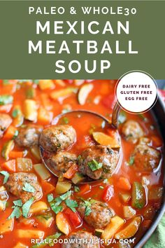 This Paleo Whole30 Mexican Meatball Soup is flavorful, packed with veggies, and so delicious! Gluten free, dairy free, egg free and nut free. #paleo #whole30soup #healthy #easyrecipe #dairyfree | realfoodwithjessica.com @realfoodwithjessica