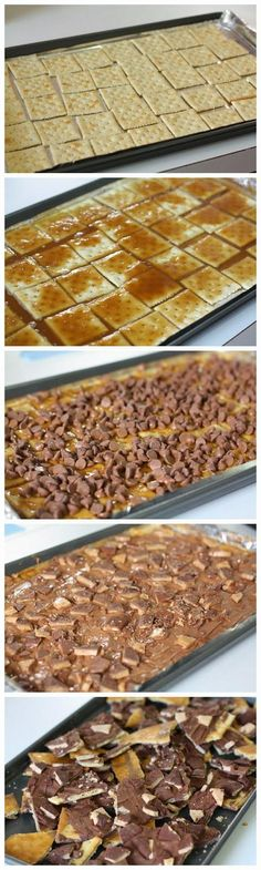 Brickle Ingredients: 40 Saltine crackers (one sleeve about) 1 Cup salted butter (don't substitute) 1 Cup brown sugar 1 12 ounce package of chocolate chips 5-6 Heath bars, crunched up for topping Se...